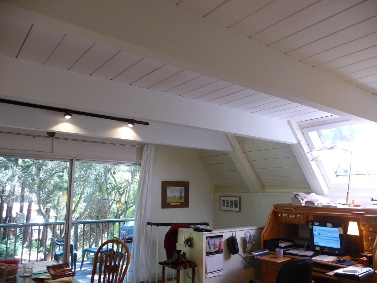 And here it is! My painted wood ceiling! (The door shown in earlier pictures was removed when I put in a staircase.)