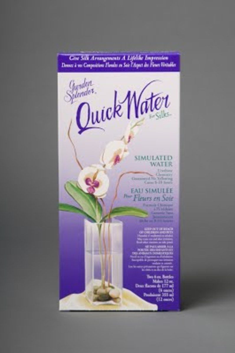 Quick Water is the absolute best when it comes to artificial water. Mixed the same way and will not turn yellow, even when exposed to UV rays from the sun. This is slightly more expensive that your acrylic water but for long term use it's the best.
