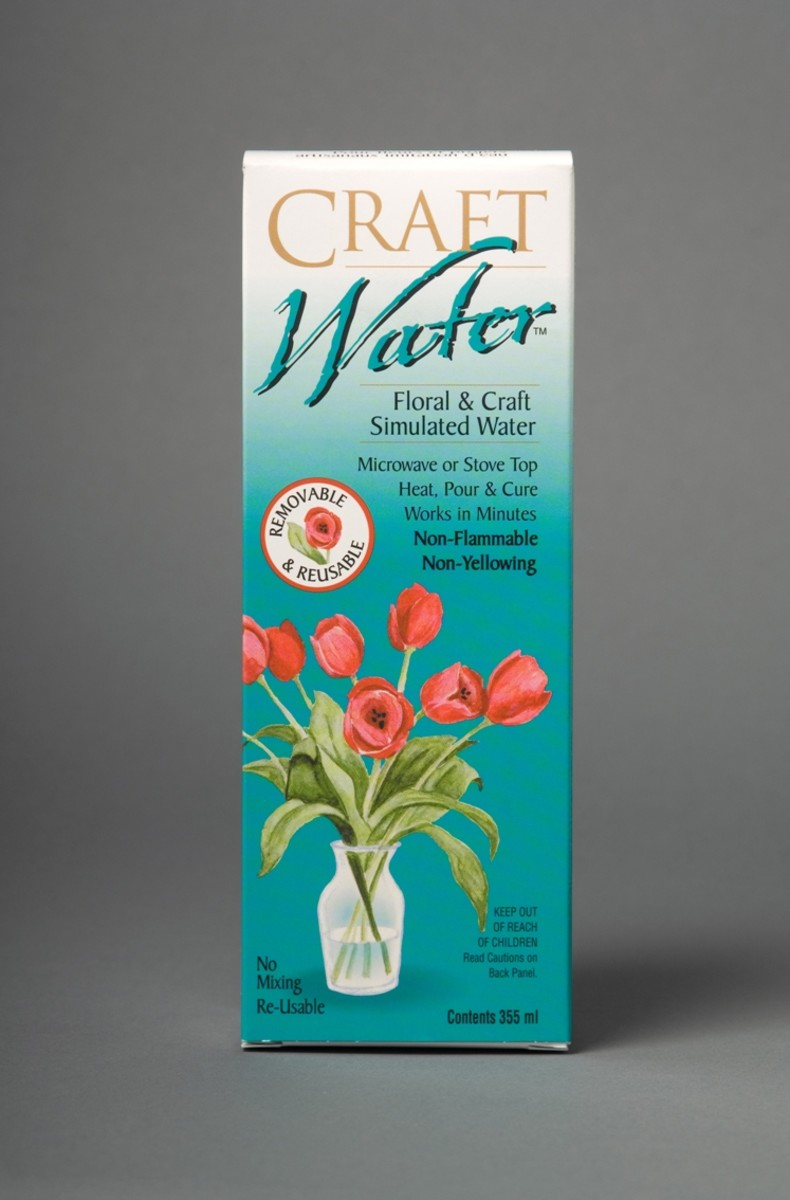Craft water is a gel that looks just like real water but can be removed and re-used as desired. This allows you to change out your silk flower arrangements and save that expensive vase. Great for changing out colors to match the seasons.
