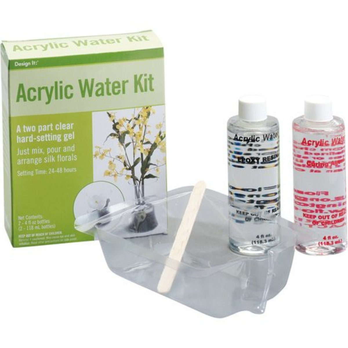 There are many different types of acrylic water including this one from Walmart but be careful because it may turn yellow over the course of a couple years. Especially if they are exposed to direct sunlight.