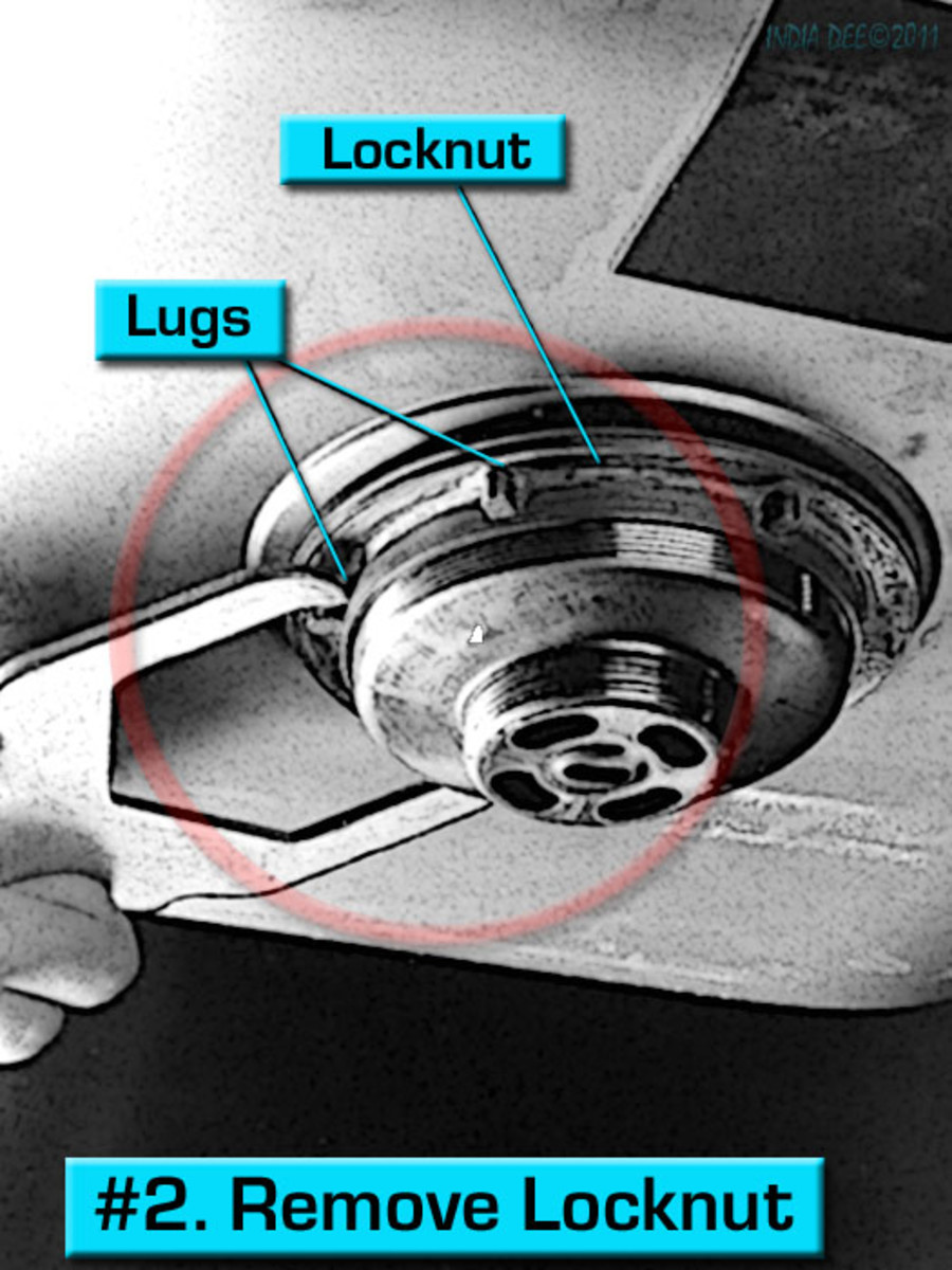 Repair step #2 - Leaky Sink Strainer, remove locknut.