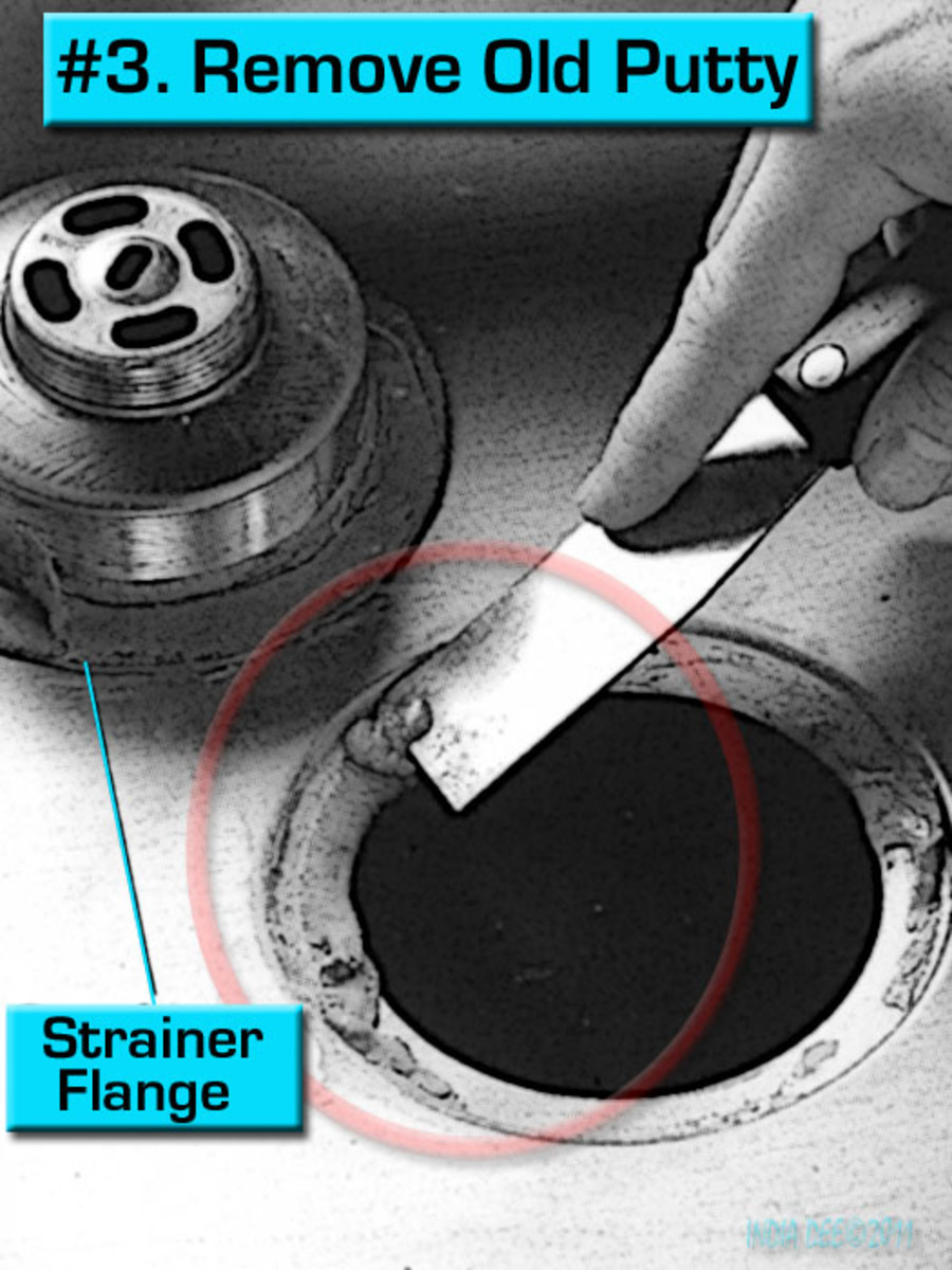 Repair step #3 - Leaky Sink Strainer, remove the old plumber's putty.