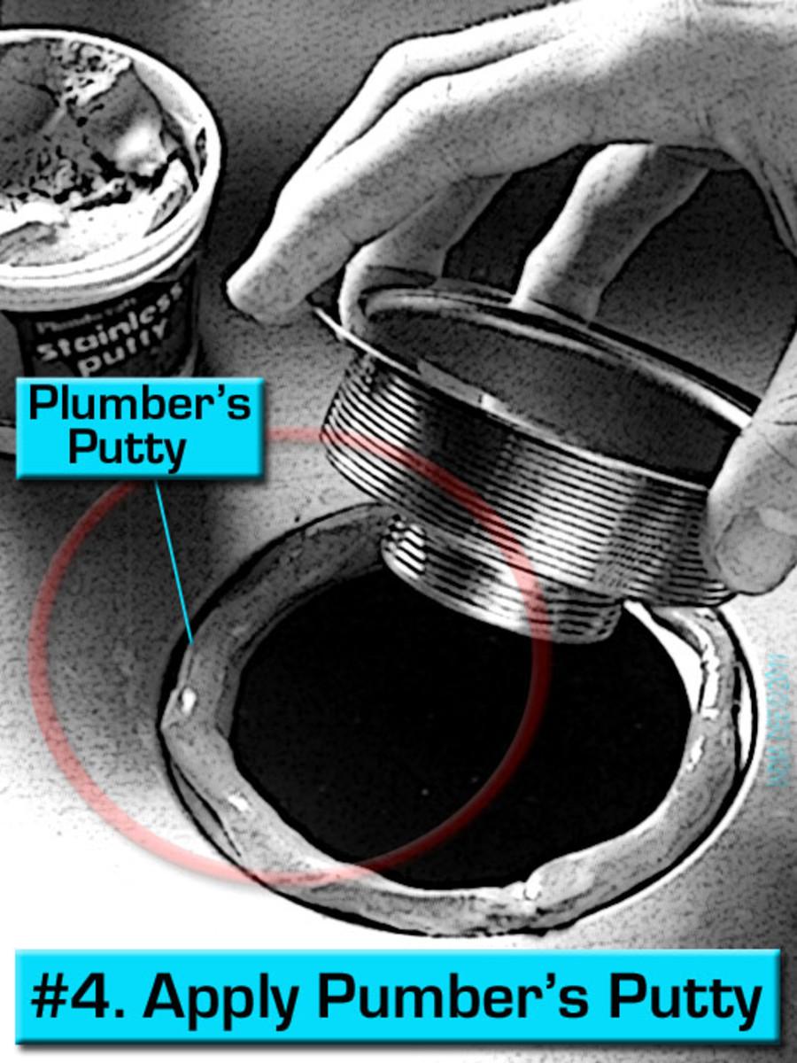 Repair step #4 - Leaky Sink Strainer, replace plumber's putty.