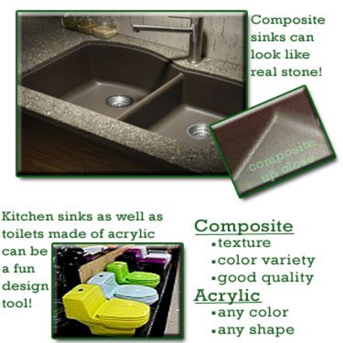 Finding a kitchen sink made out of the right material for your taste requires a little research-- don't forget to feel the materials!