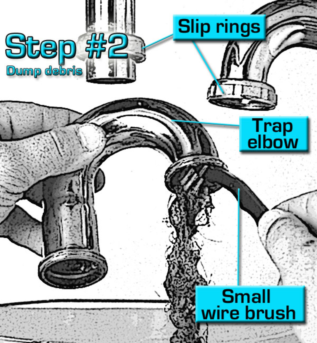 Step #2 Cleaning a Sink Trap, clean out the trap elbow of debris and dirt.