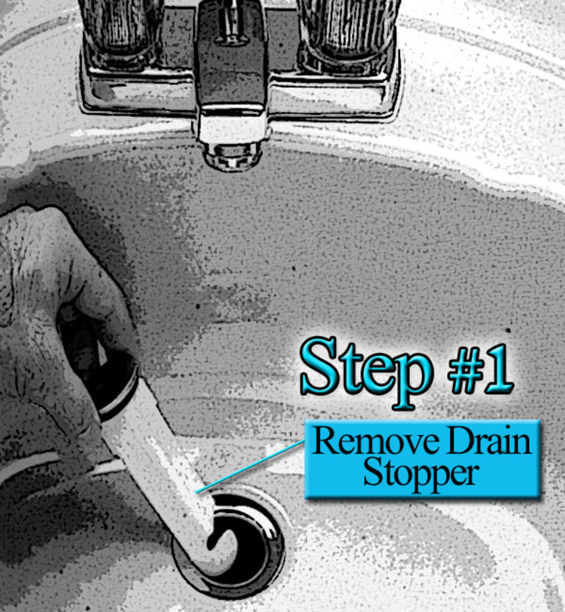 Step #1 remove drain stopper