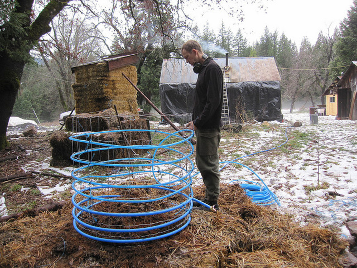 An inventive use of PEX tubing: taking advantage of the heat created in a compost pile. CCL B
