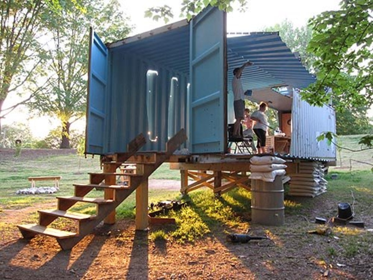 This emergency shipping container shelter was built in Haiti.
