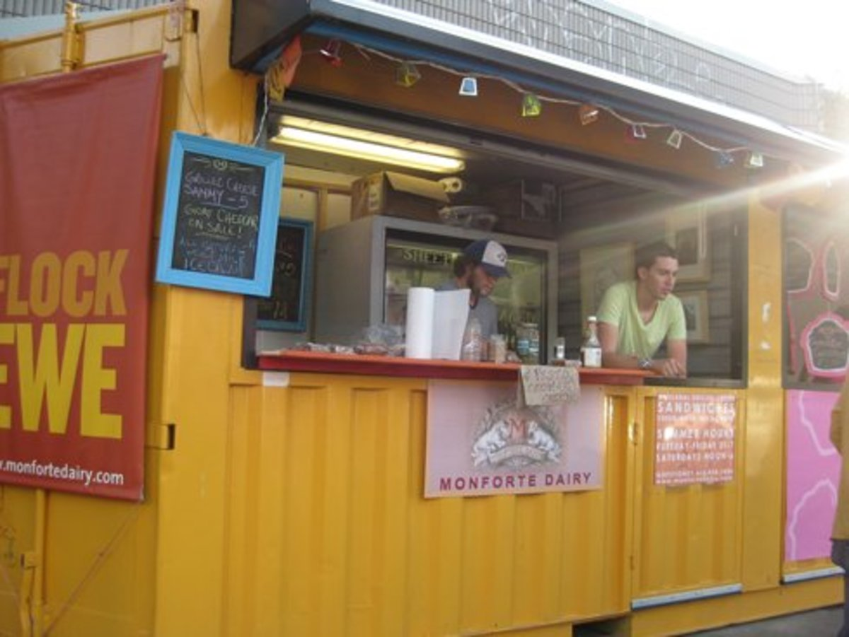A shipping container food stall.