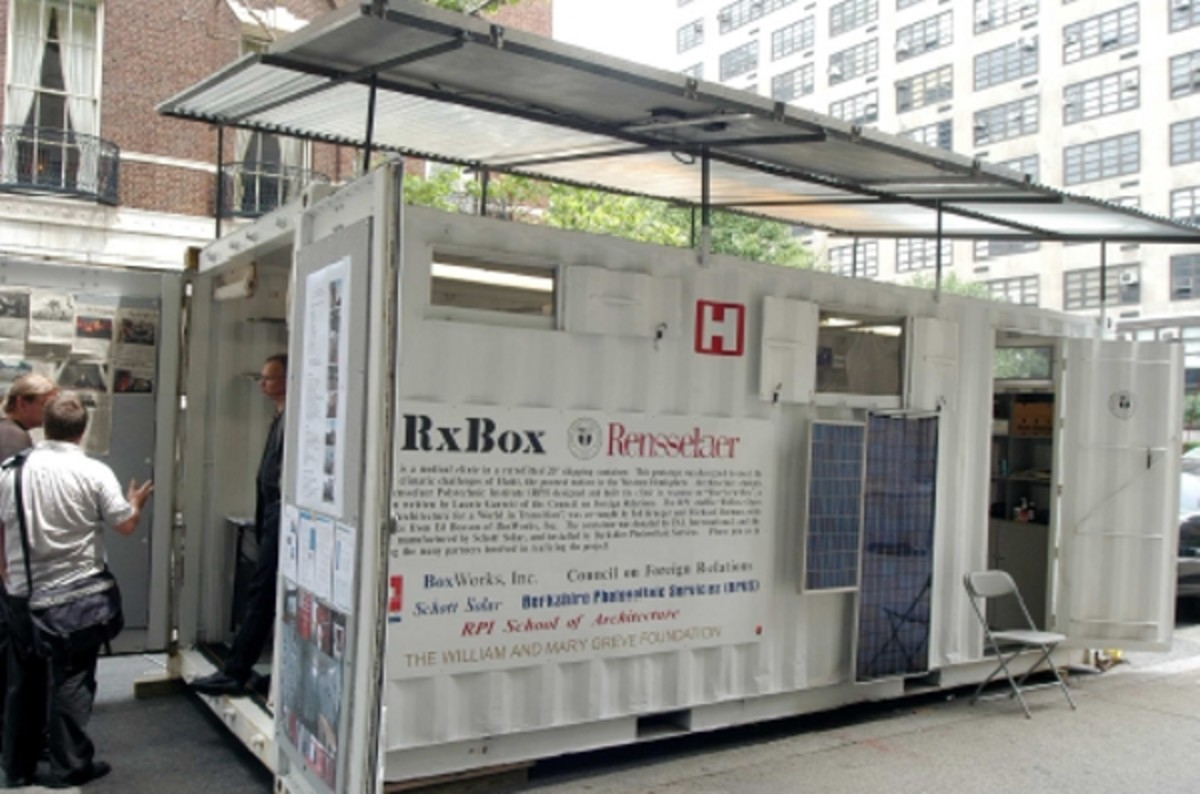 A portable clinic in a shipping container.