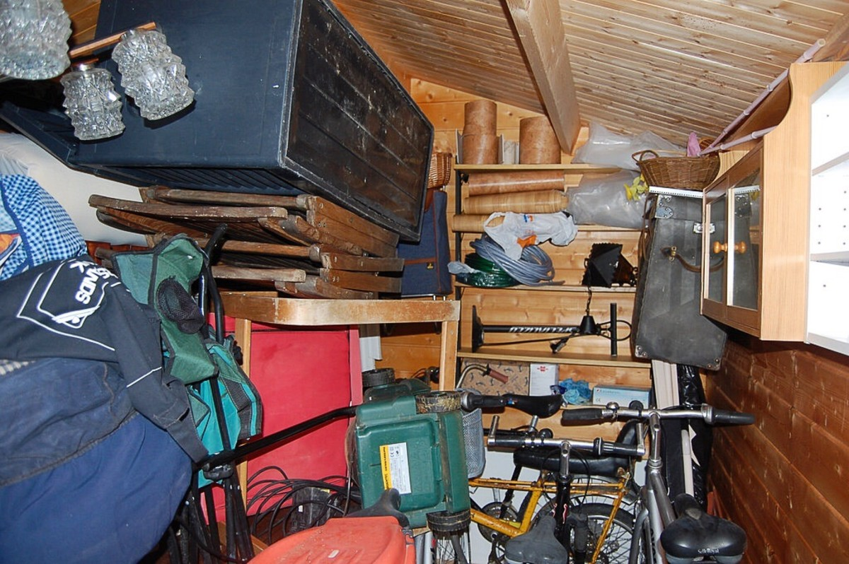 Clutter in a shed or basement can make things hard to find and can also be a fire hazard.