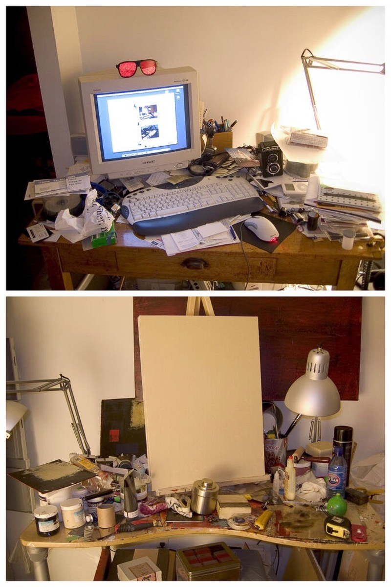 A cluttered work desk could interfere with jobs that have to be done. A cluttered painting area may not be so harmful, as long as the clutter doesn't interfere with creativity.