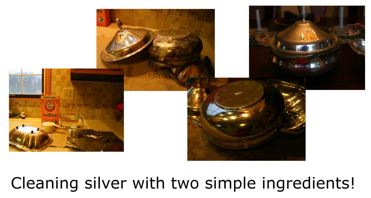 Tarnished silver is easy to clean with hot water, aluminum foil, and baking soda!