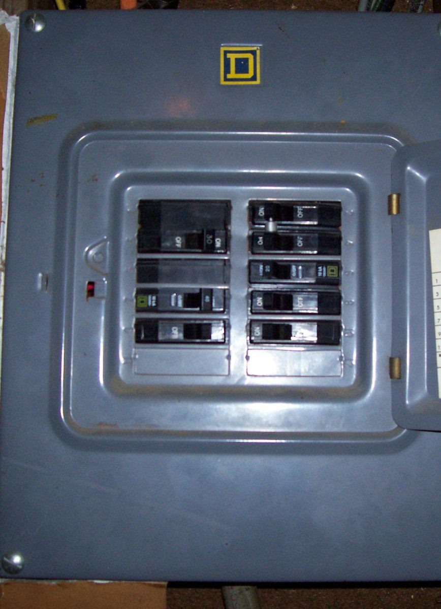 A typical breaker panel, where you may also be able to turn off the power to your furnace.