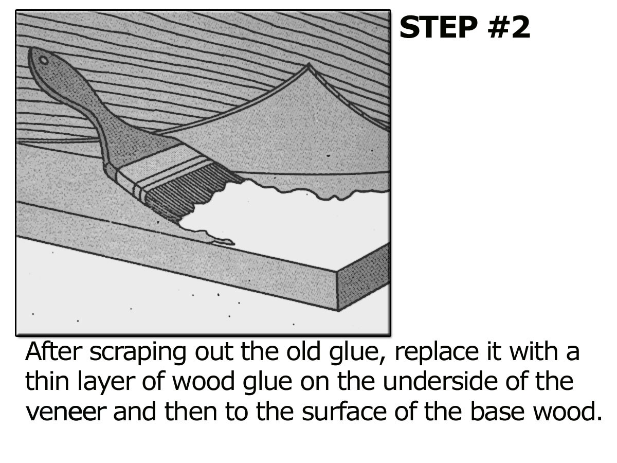 Scrape old glue out and replace with new white wood glue between the veneer and wood base.
