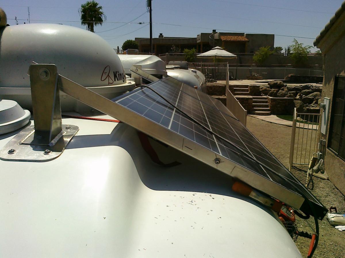 Solar panel kit installed on an RV.