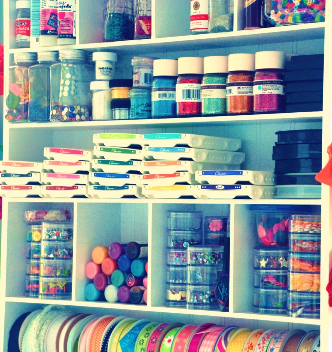Organizing your items with like items makes the room better, and makes the items easier to find.
