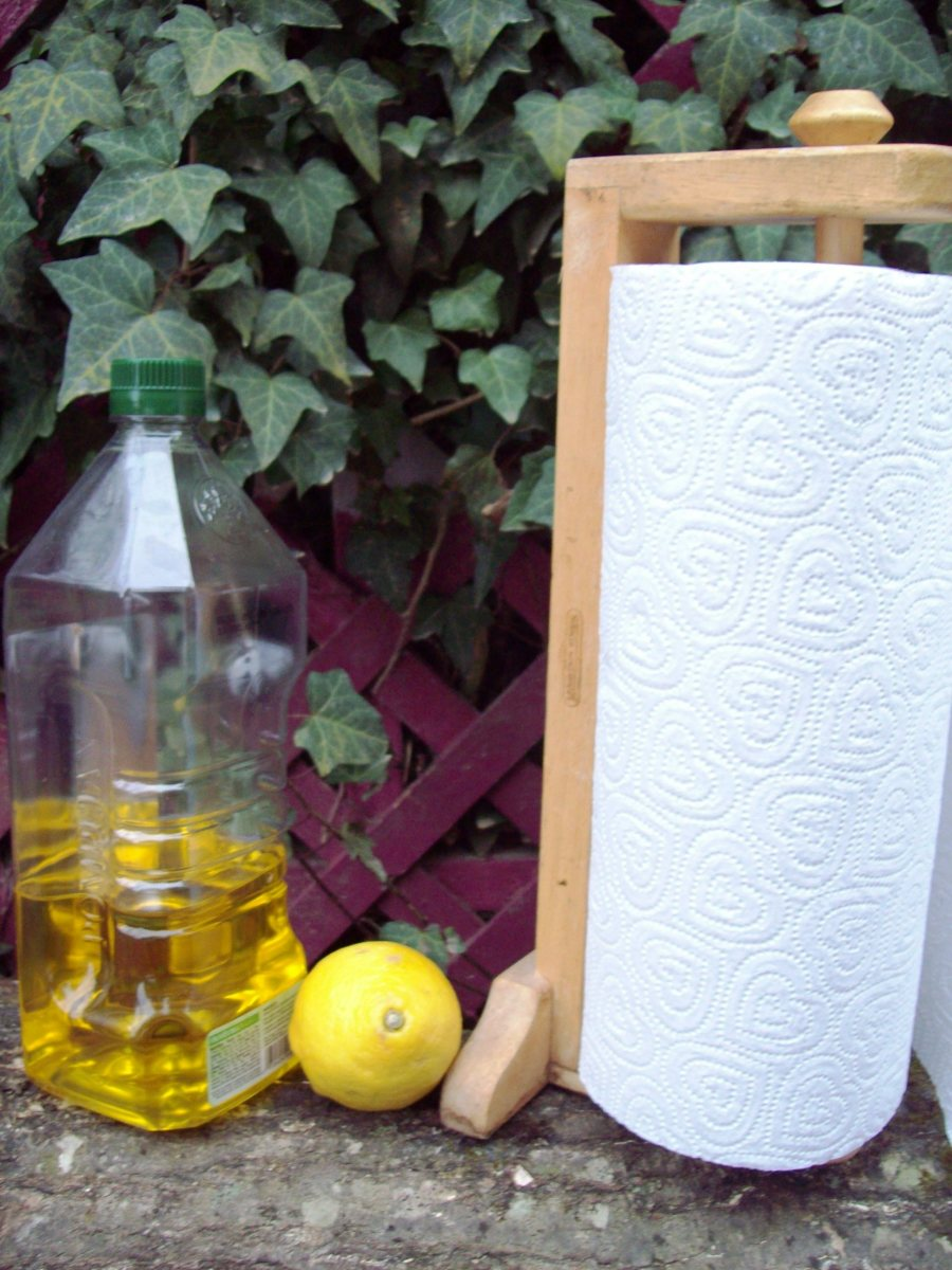 All you need are olive oil, a lemon, paper towels (preferably recycled) and as an option, you can use tea tree oil.
