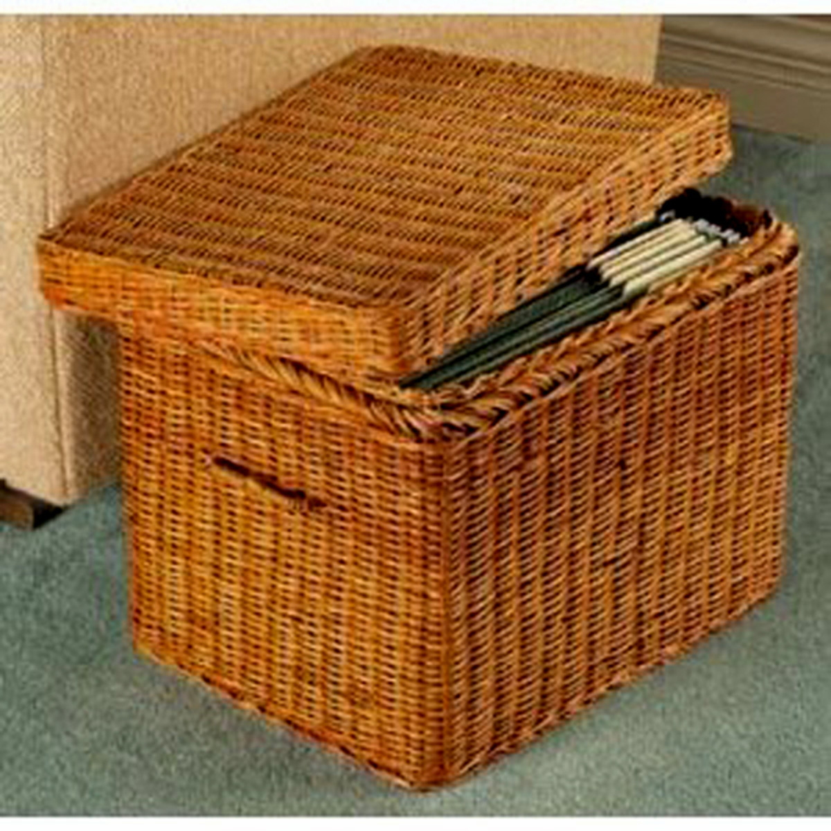 Wicker baskets are an alternative for filing important documents.