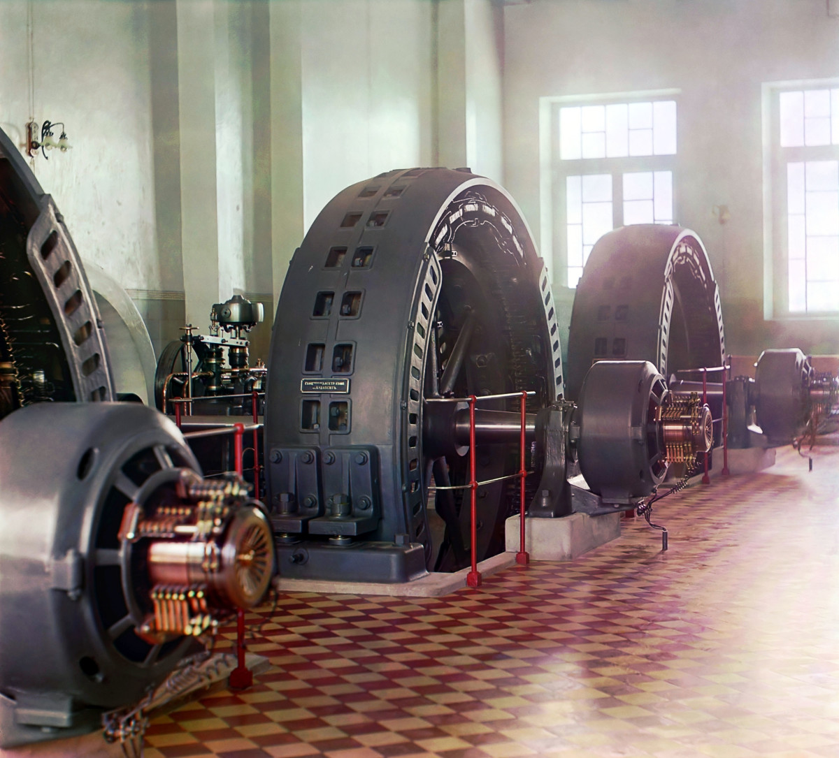 Early 20th century (1909) alternators in a hydroelectric power station.