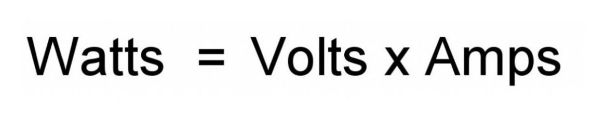 Watts, amps and volts equation.