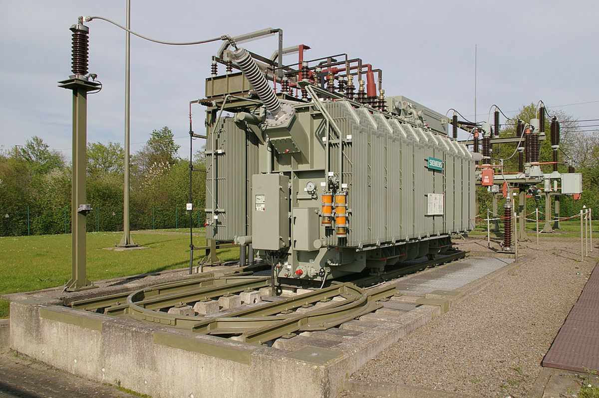 Transformer in an electrical sub-station. The function of a transformer is to either increase or decrease voltage.