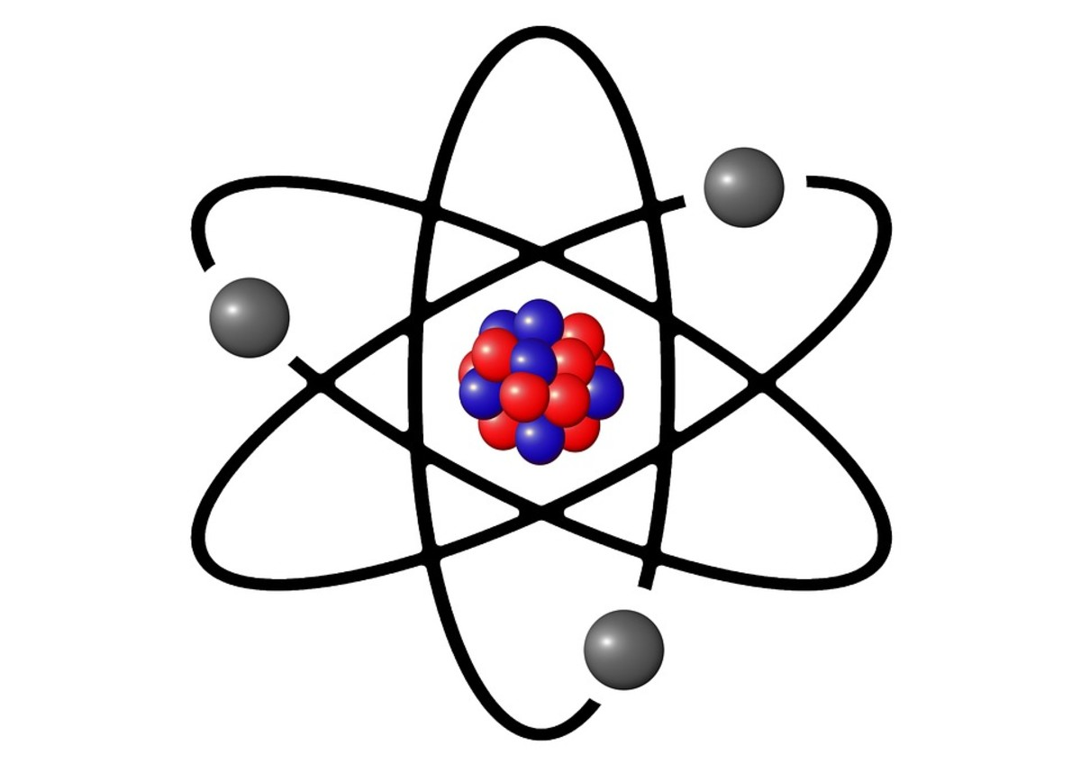 Conceptual image of atom with protons and neutrons in the central nucleus and electrons in outer orbitals