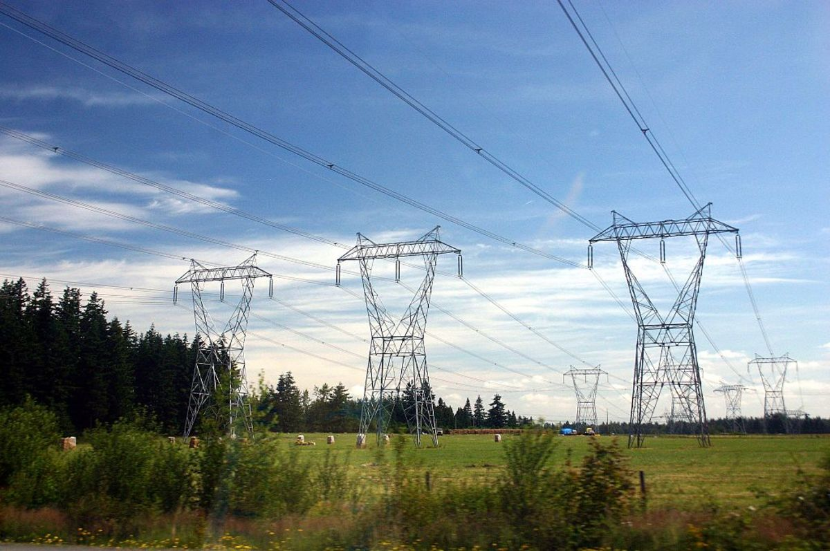 Three-phase power lines. Each overhead line is a single phase.