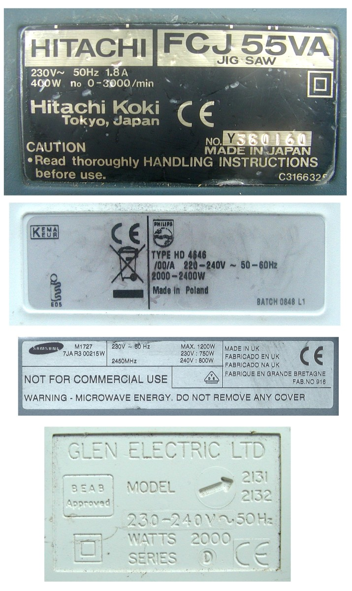 Typical electrical appliance labels/panels indicating voltage and current rating, power rating and frequency in hertz.