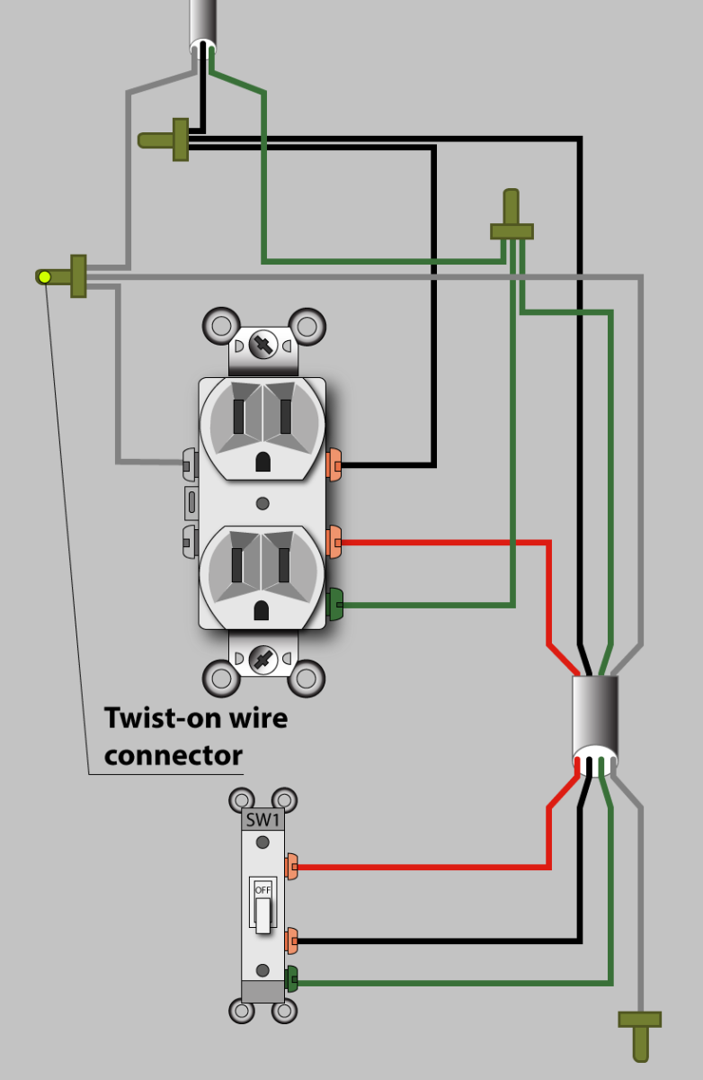 Diagram for a half-hot switched outlet that gets power in the outlet box (the preferred method).