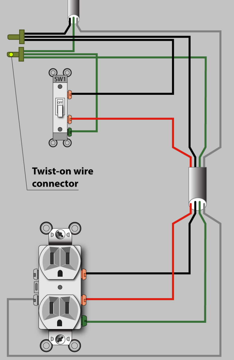 wiring diagram for power in the switch box (not the preferred method, but  acceptable