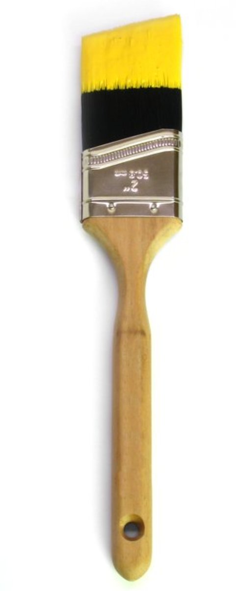 An angled-bristle paint brush.
