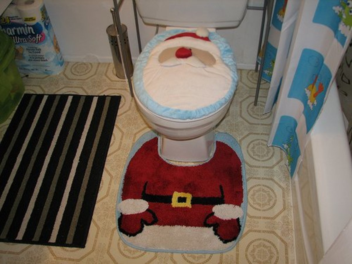 Toilet seat covers and matching rugs are a definite no-no any time of the year.