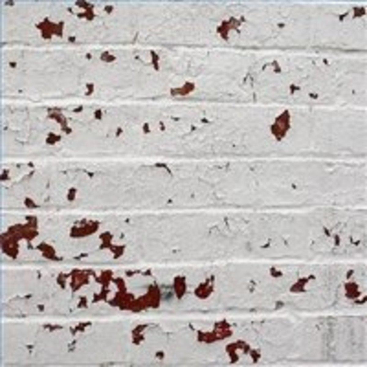 Peeling paint on improperly prepared bricks... avoid this!
