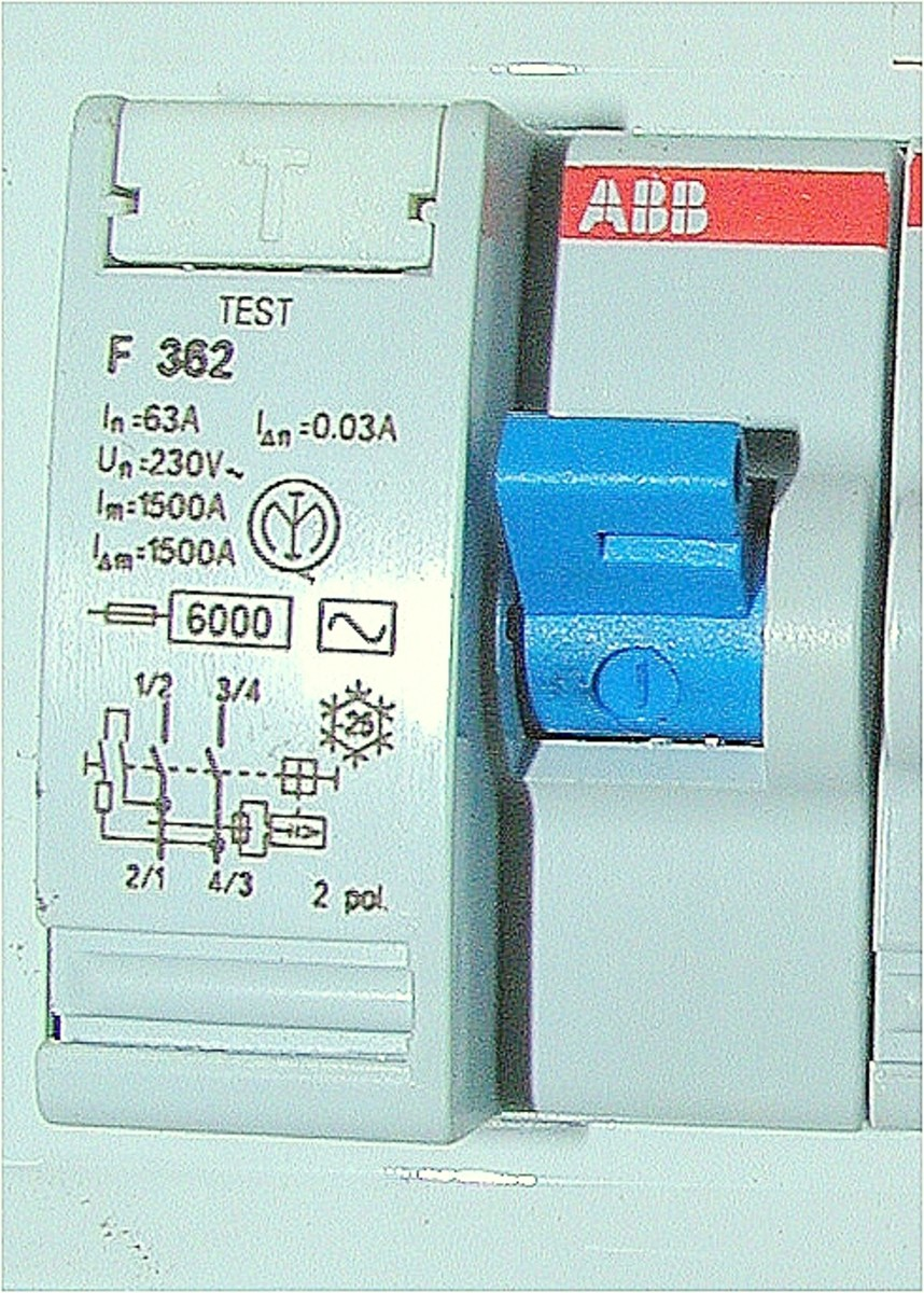 An RCD(GFCI) with test button