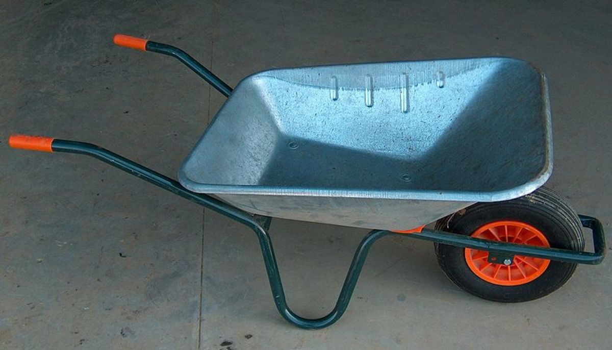 Galvanized wheel barrow