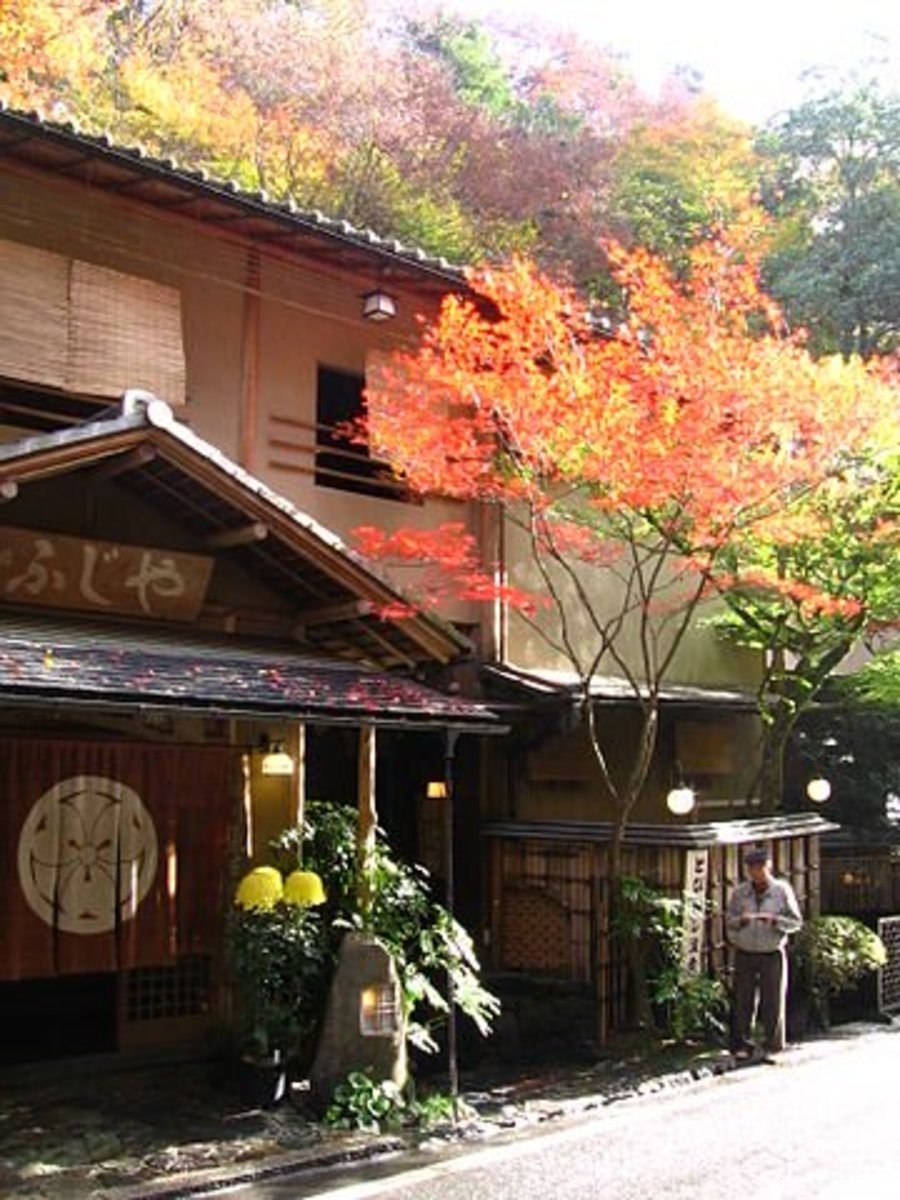 The maple trees at the Kibune shrine in Kyoto, Japan.