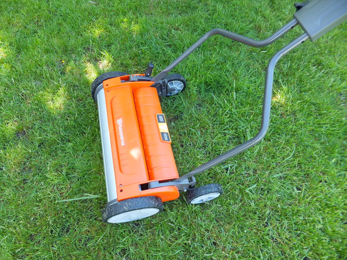 The Evolution reel mower without the grass collection bag.