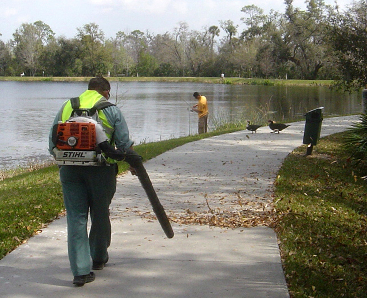 A leaf blower extension keeps the blow low to the ground.
