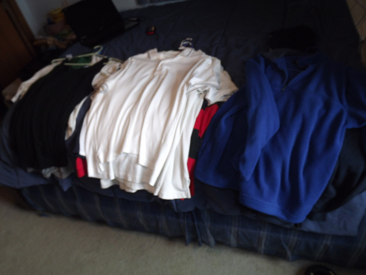 Start of our clothes for Goodwill from the closet.
