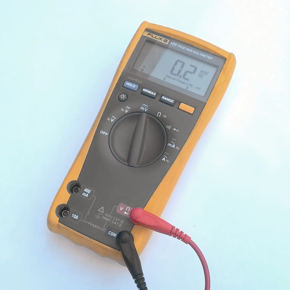 A professional model 177 Fluke multimeter with an accuracy of 0.09 % on DC volts.