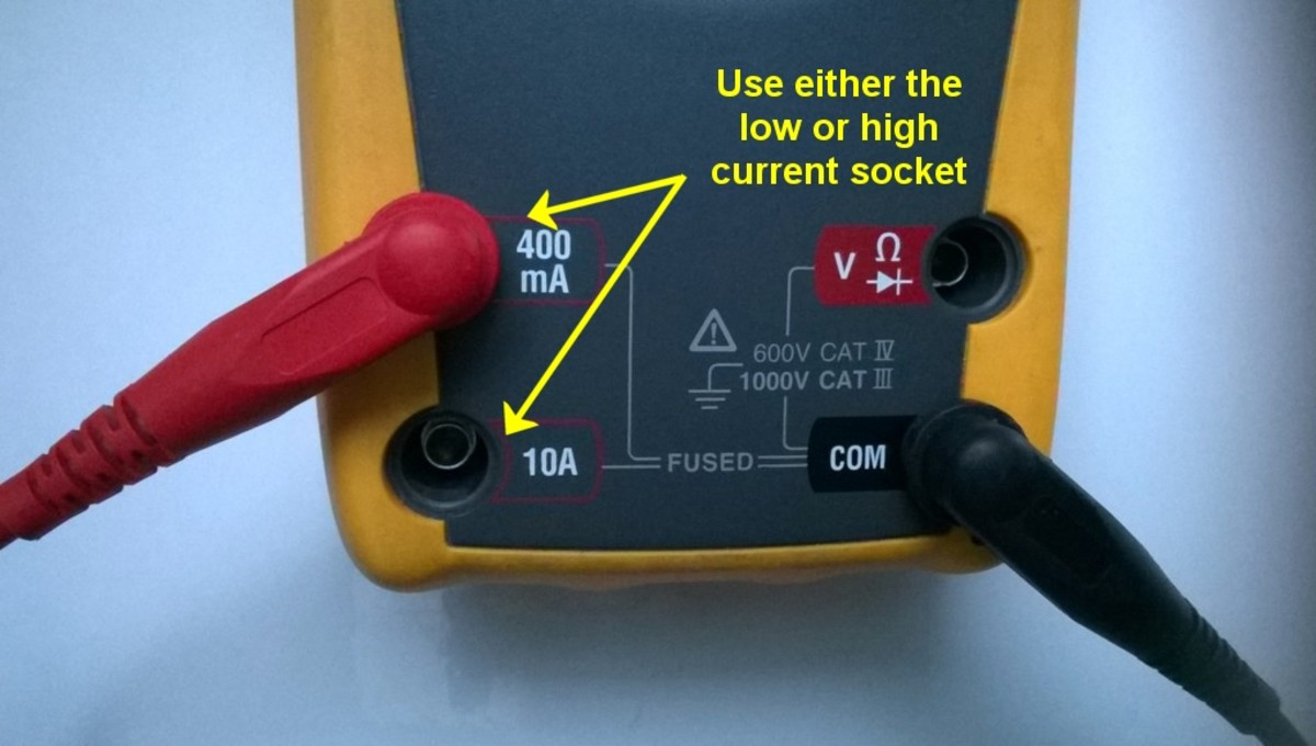 Test leads and sockets on a DMM, setup to measure current