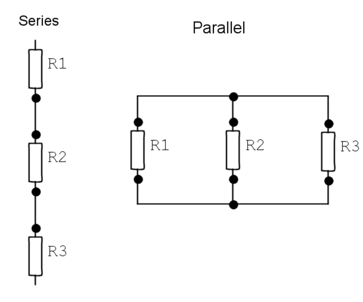 Explaining series and parallel connections (R1, R2 and R3 are resistors)