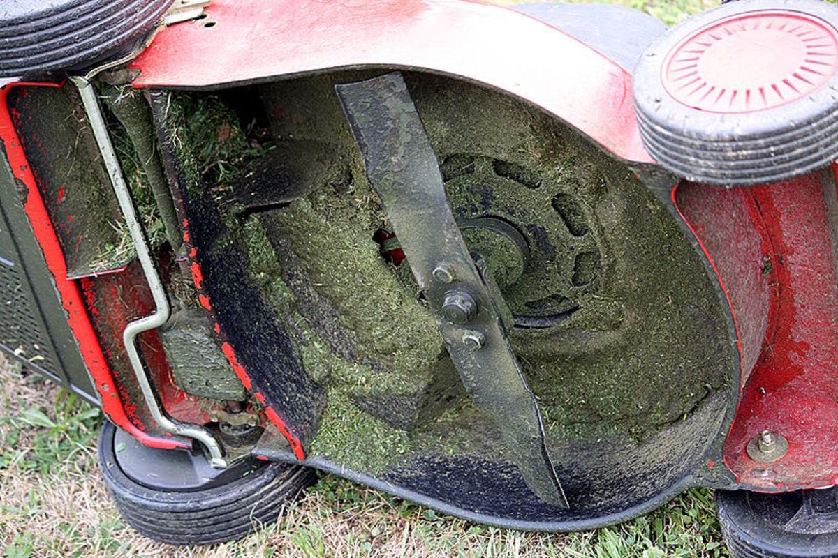 Underside of lawnmower deck and blade