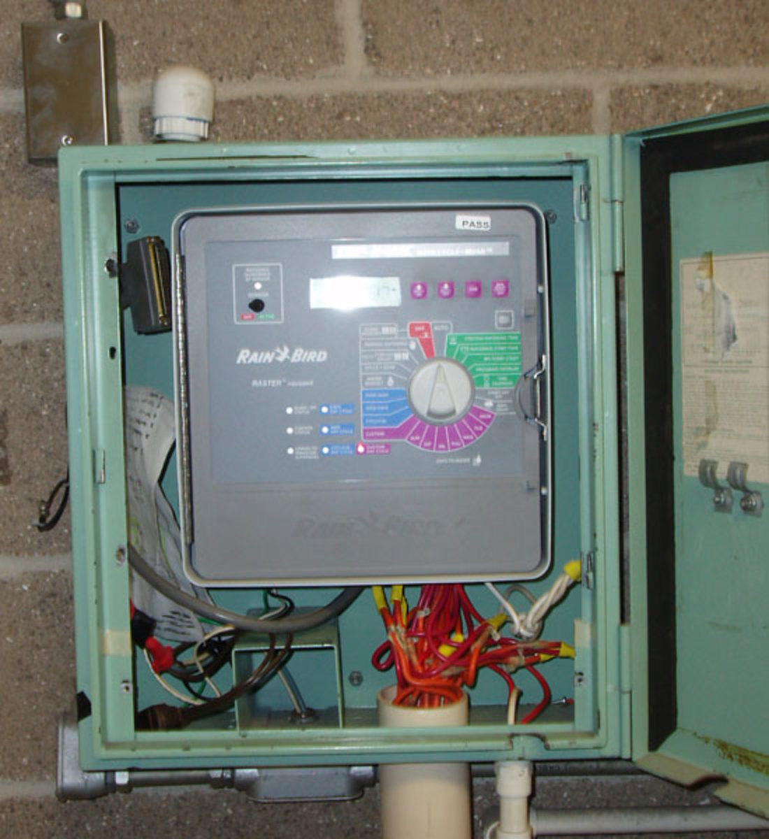 Home irrigation controllers look similar to this school one, but are a little smaller.