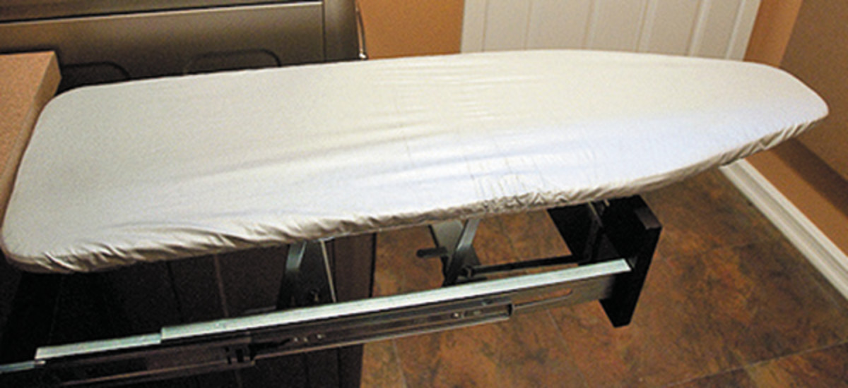 Use space savers like a drop down ironing board station.