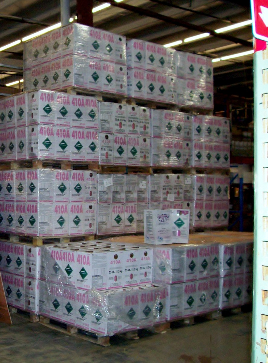 Pallets of 410a refrigerant containers.