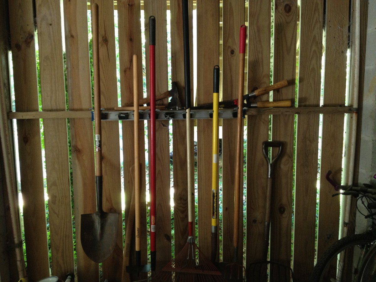 Hang shovels and rakes on the wall using a strip garden tool organizer.