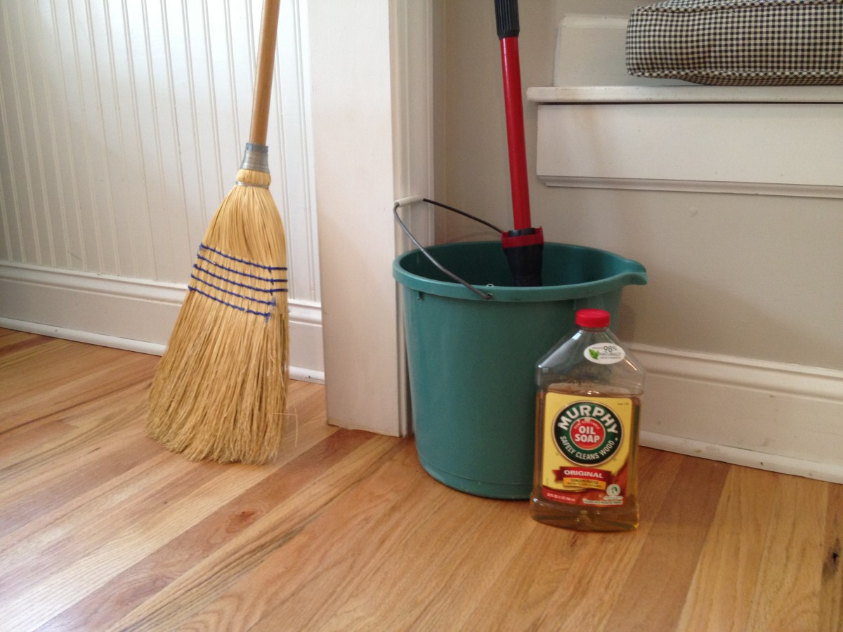Hardwood floors only need a capful of Murphy's Oil mixed with a bucket of warm water.