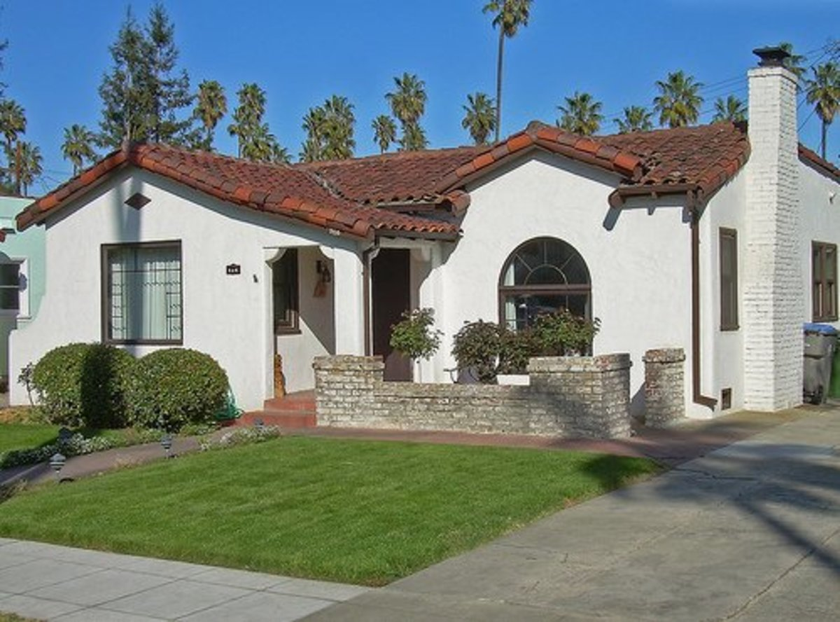 Typical Spanish colonial bungalow in California